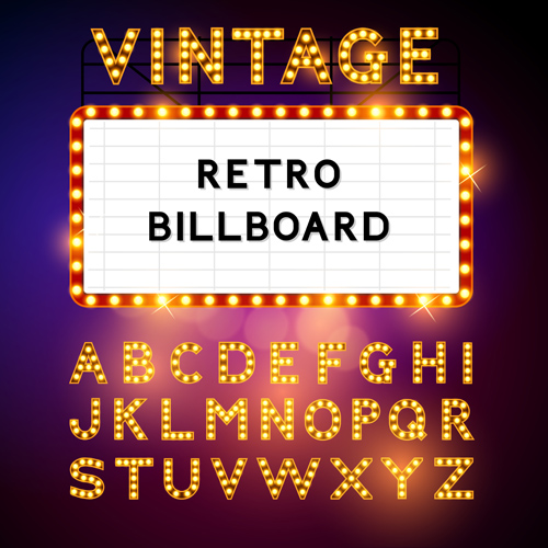 Theatre Neon Light Alphabet Vector Material 03 Vector