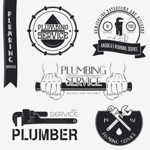 Vector plumber service logos with labels design 01 free