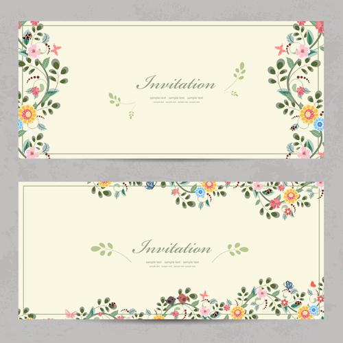 Vintage Flower Invitation Cards Vectors 01 Free Download