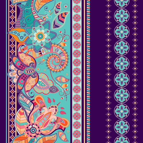 Theme Go 3d Wallpaper Ethnic Floral Borders Pattern Vector 02 Free Download