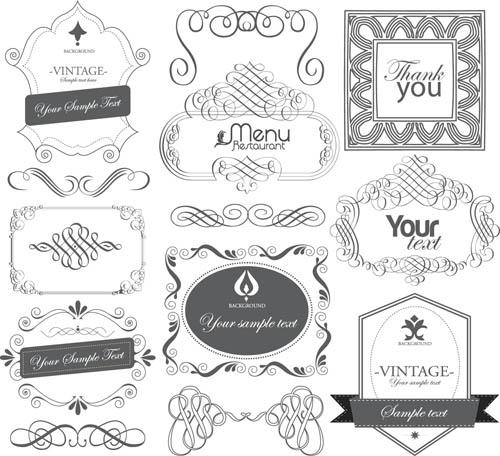 Black Labels with ornaments vintage vectors 01 free download