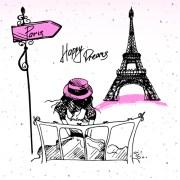 fashion paris hand drawn vector