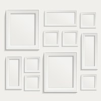 White frame on wall vector design 01 free download