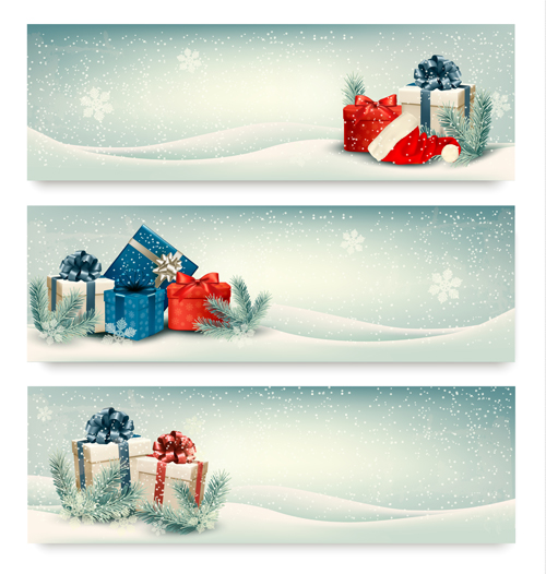 Christmas Banners With Winter Snow Vector Set 06 Vector