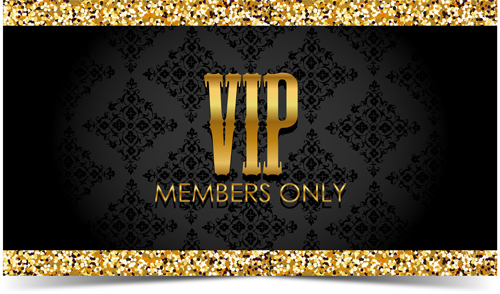 Golden With Black VIP Members Cards Vector 04 Free Download
