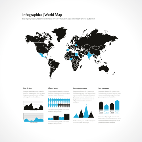 World map with infographics creative vector 02 free download