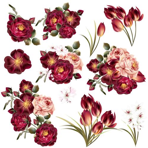 realistic vector flowers set