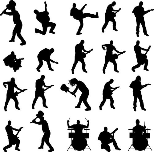 Vector musicians silhouetter set 01 free download