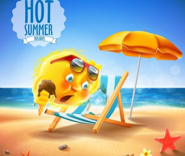 Hot Summer Holiday Background With Funny Sun Vector 01