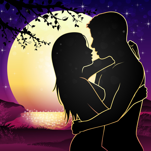 Download Lovers silhouette with moon and tree vector 05 free download
