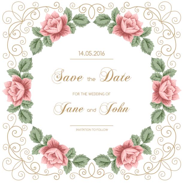 Vine Flower With Wedding Invitation Vector 06