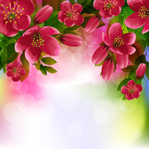 3d Emoticons Wallpapers Beautiful Red Flower Vector Background 07 Vector