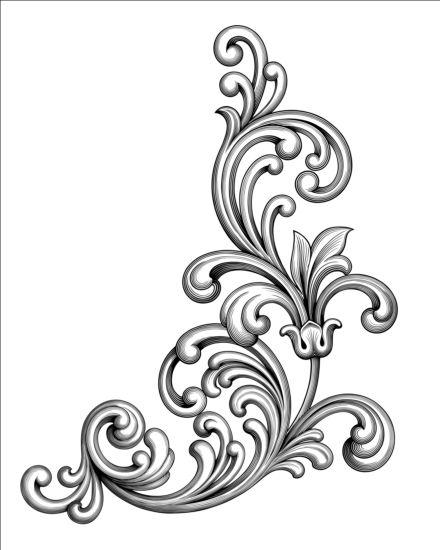 Baroque scroll corner vector material free download