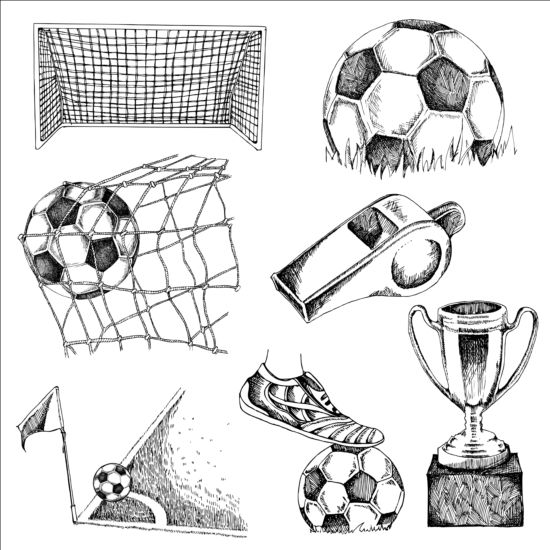Soccer elements hand drawn vector material 01 free download