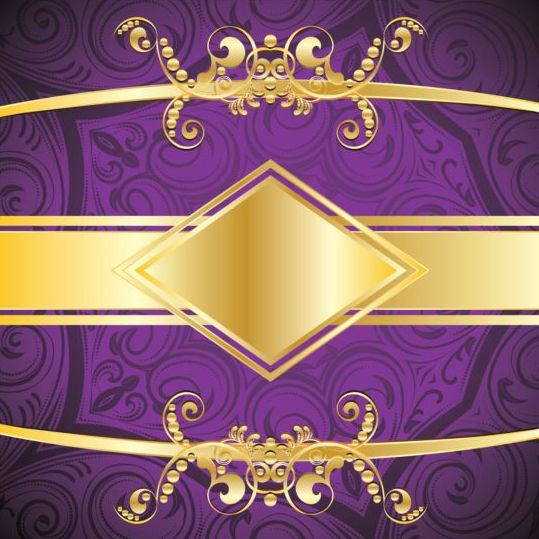 Golden With Purple Decorative Background Vector 02 Free