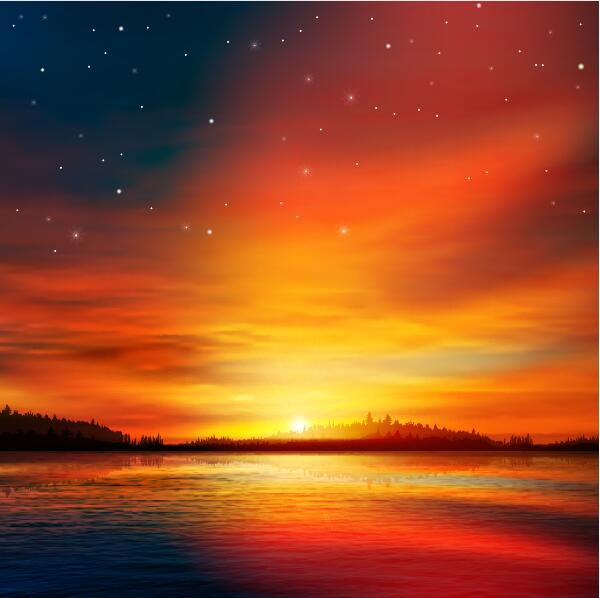 Beautiful Girl Hand Wallpaper Lake Landscape With Sunset Vector 04 Vector Scenery Free