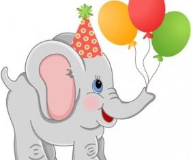 baby elephant cute cartoon vector
