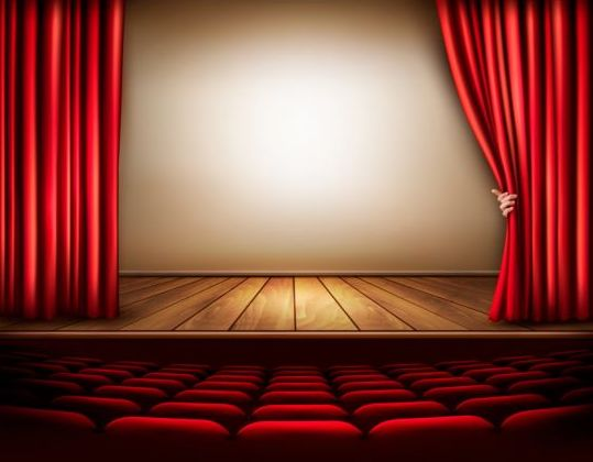 Cinema background with red curtain and hand vector