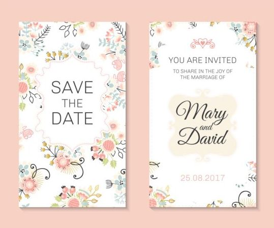 Wedding Invitation Card Template With Floral Vectors 03