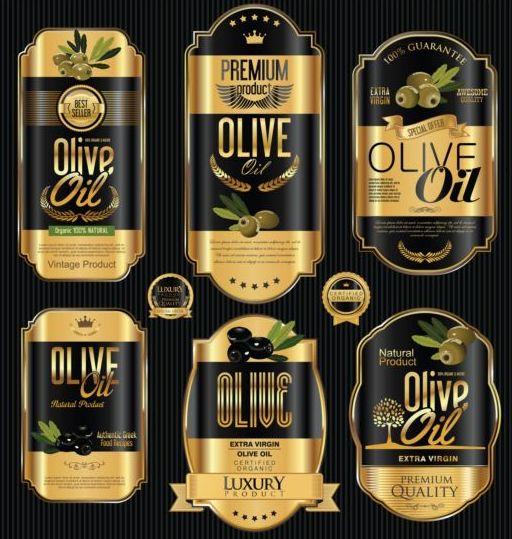 Olive Oil Retro Labels Luxury Vector 02 Vector Food