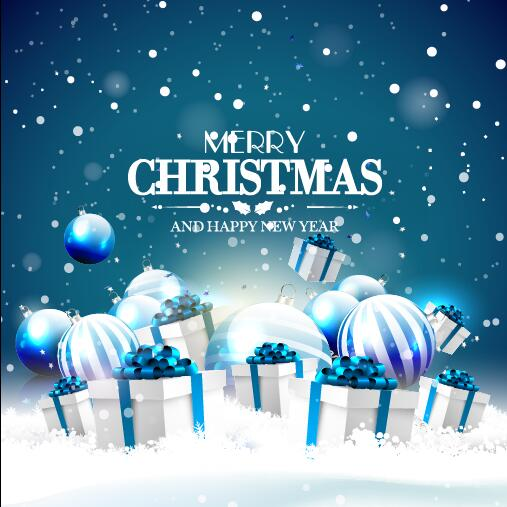 Blue Christmas Ball With Gift Card Vector Vector Card