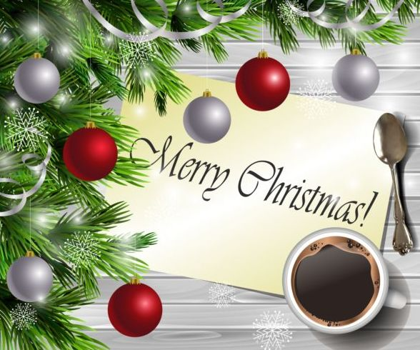 Cup Coffee With Merry Christmas Greeting Card Vector