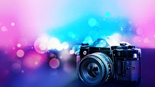 Camera With Blurred Background Stock Photo  Backgrounds