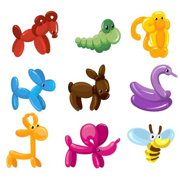 cute balloon animal vector set