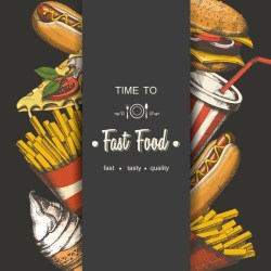 food fast poster template background menu vector vectors material sketch advertising packaging drawn hand eps format
