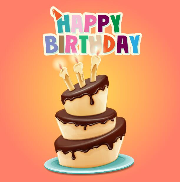 Happy Birthday Cards With Cake Vector 05 Free Download