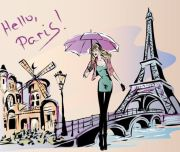 hand drawn gril with paris travel