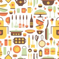 Kitchen flat pattern background vector - Vector Food free ...