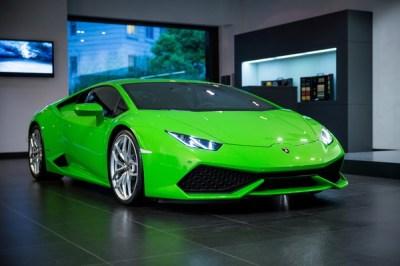 Lamborghini Levanton Green Car Stock Photo ...