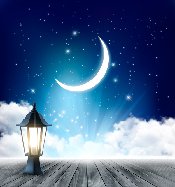 Night background with crescent moon and wooden floor and