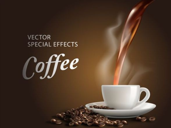 3d Emoticons Wallpapers Special Effects Coffee Poster Template Vector 04 Vector
