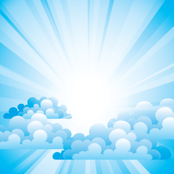 White Clouds With Blue Sky Vector Background 02 Free Download