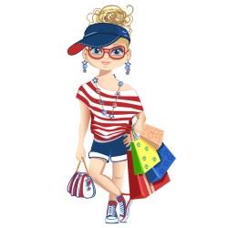 fashionista shopping vector cartoon file eps format upload freedesignfile