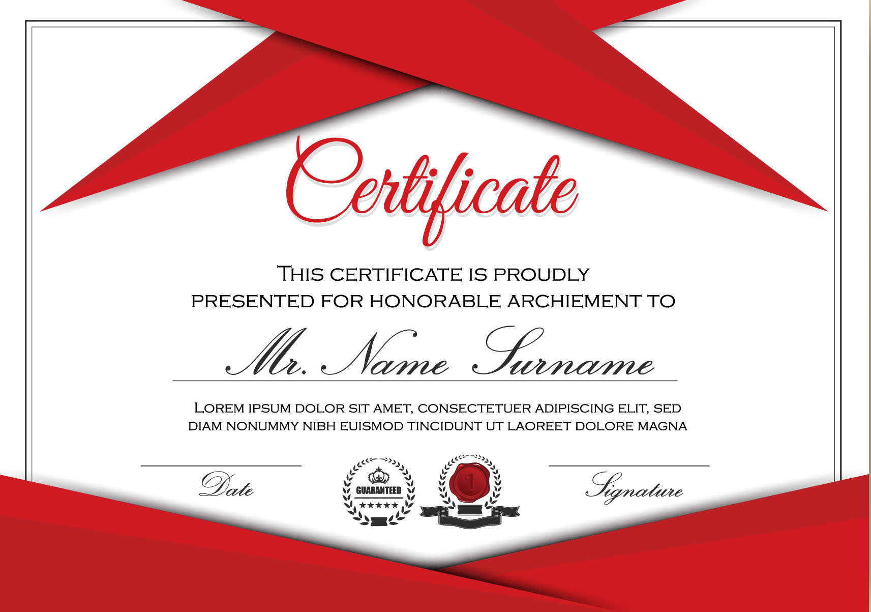 Red Styles Certificate Template Vector 04 Free Download