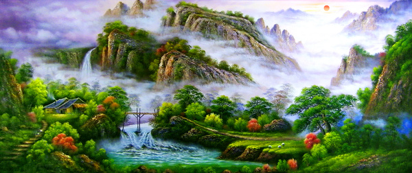 Spring Mountain smoke and rain painting HD picture free