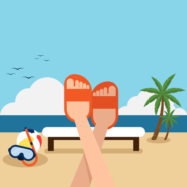 Happy Holiday With Summer Beach Vector Background Free Download