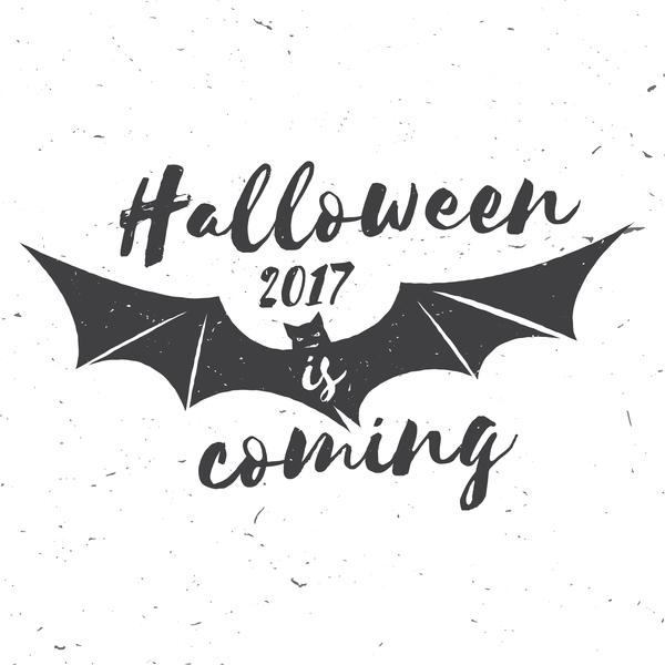 2017 Halloween label with bat vector free download