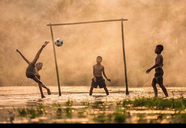 Childrens Animal Wallpaper The Children Who Play Football In The Water Stock Photo