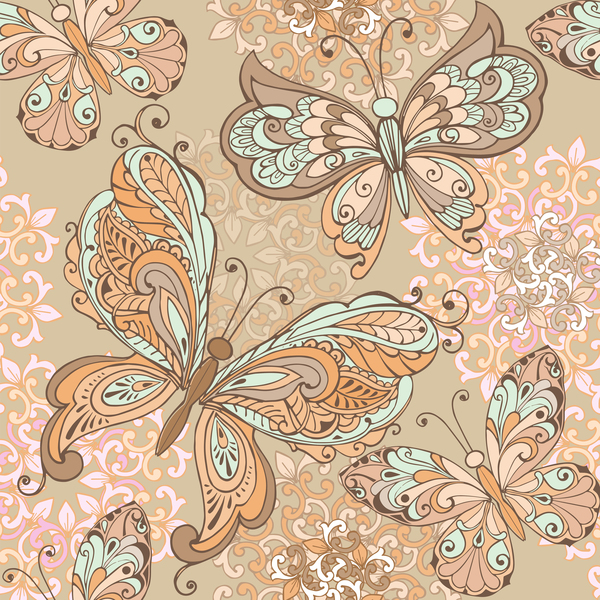 Vintage seamless pattern with decorative butterflies and pastel colors background vector - Vector Animal. Vector Pattern free download
