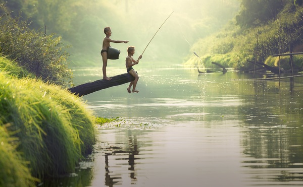 Cute Kid Wallpapers Free Download Children Fishing In The River Stock Photo Free Download