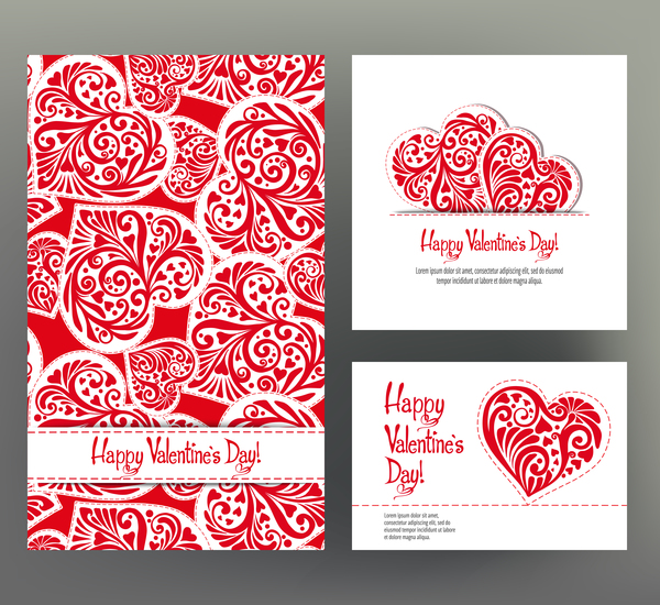 Valentine Day Card Template Vector Kit 03 Free Download