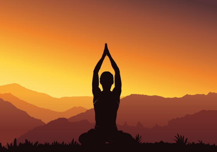 Yoga silhouette with sunset background vector 07 free download
