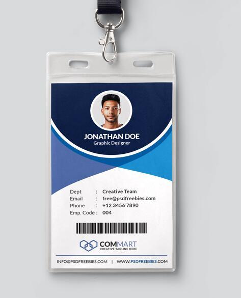 Office Identity Card PSD Template Free Download