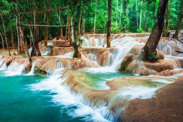 Kuang Si Falls Hd Wallpaper Tropical Rainforest Waterfall Stock Photo 04 Free Download