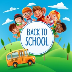 Cartoon kids with back to school background vector 03 free download