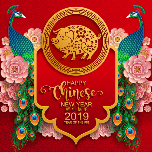 2019 new year of pig year chinese styles design vector 01 free download